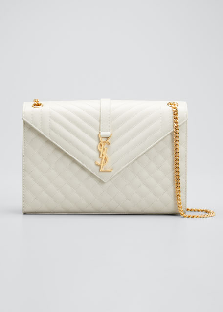 Saint Laurent Monogram YSL V-Flap Large Tri-Quilt Envelope