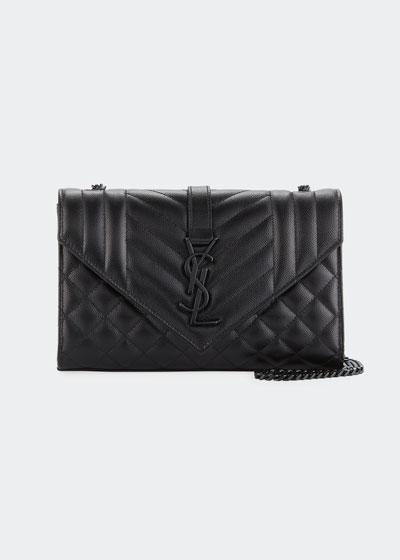 Monogram YSL Envelope Small Chain Shoulder Bag - Black Hardware