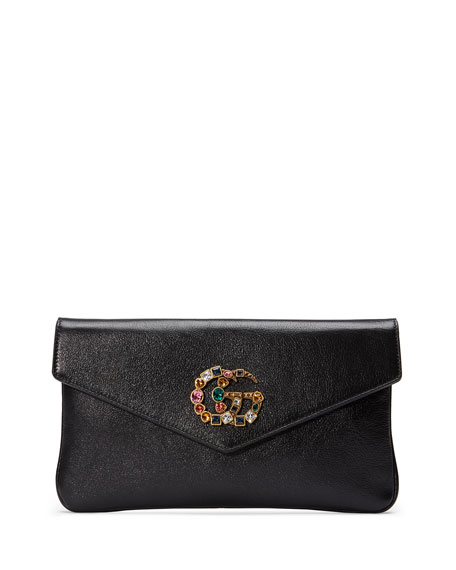 Broadway Crystal Gg Leather Envelope Clutch - Black
