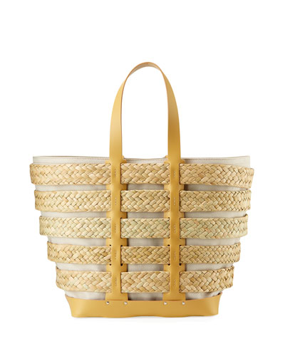 Cage East-West Straw Tote Bag