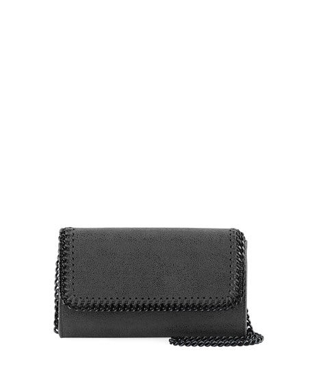 Falabella Shiny Dotted Chamois Crossbody Bag (Black Hardware)