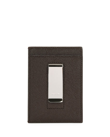 Men's Taclipos Leather Money Clip Card Case