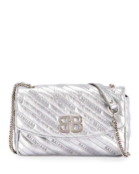 BB Chain Metallic Logo Crossbody Bag