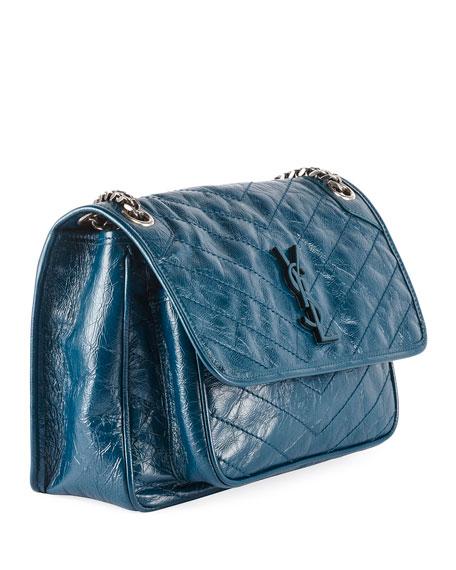 c9c133ae9ce Saint Laurent Niki Medium Monogram YSL Shiny Waxy Quilted Shoulder Bag