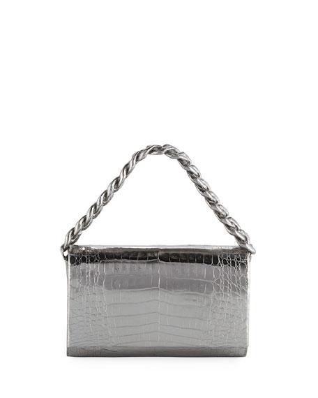 Nancy Gonzalez Convertible Metallic Crocodile Chain-Trim Flap Bag
