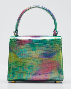 Crocodile Small Flap Top Handle Crossbody Bag by Nancy Gonzalez