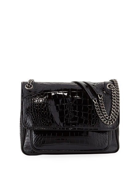 7eae6567f5a Saint Laurent Niki Medium Monogram YSL Croco Shoulder Bag