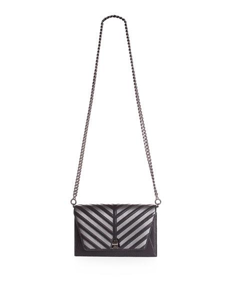 Anouk Small City Oversize-Herringbone Shoulder Bag with Fur Strap