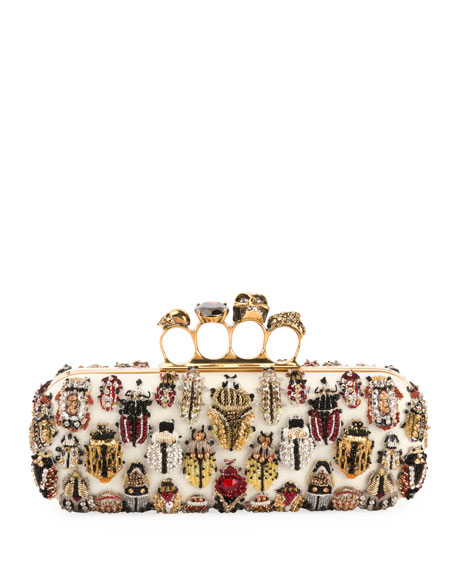 Long 4-Ring Knuckle Clutch Bag With Bug Embroidery, Multi