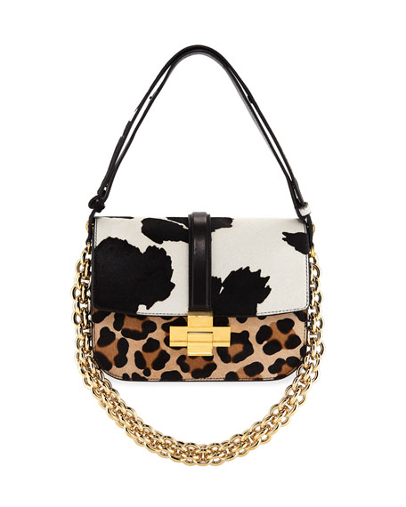 Mixed Animal-Print Fur Shoulder Bag