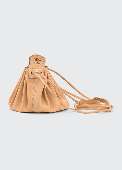 Drawstring Leather Crossbody Pouch Bag  Beige