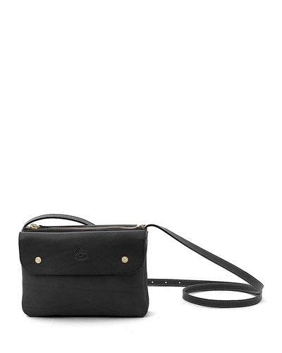 Cowhide Leather Flap Crossbody Bag  Black