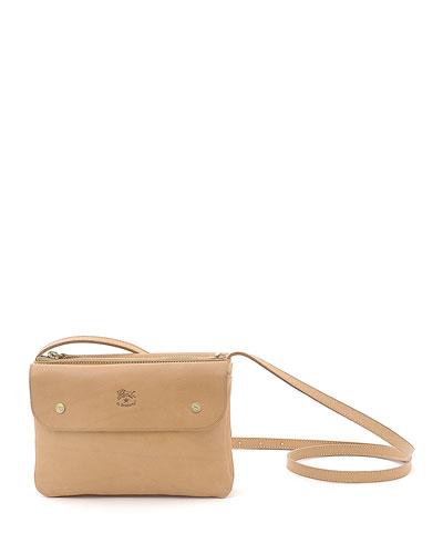 Cowhide Leather Flap Crossbody Bag  Beige