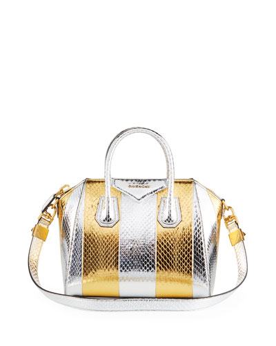 Antigona Small Metallic Snakeskin Satchel Bag