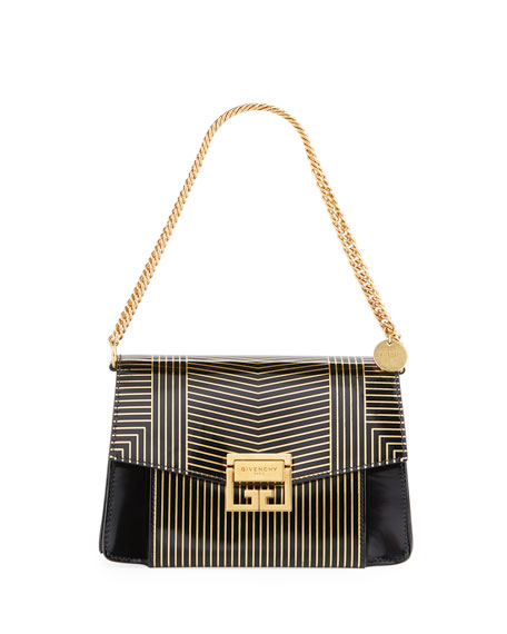 Givenchy GV3 Small Striped Leather Satchel Bag
