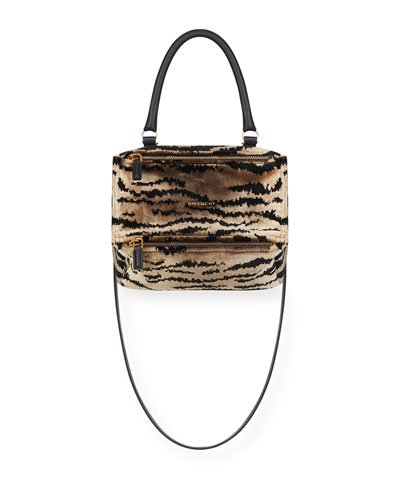 Pandora Velvet Animal-Print Small Satchel Bag
