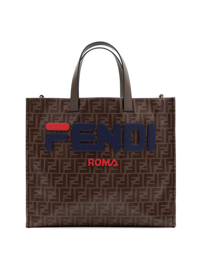 Fendi Runway Collection Calf Leather and Canvas Tote Bag