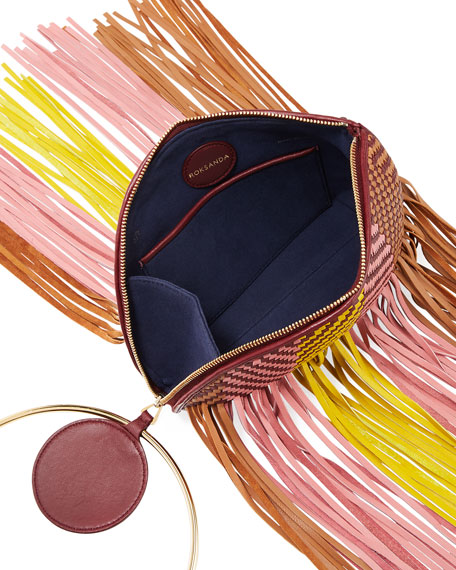 Eartha Small Woven Leather Fringe Clutch Bag