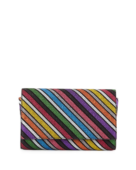 Paloma Striped Suede Clutch Bag