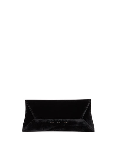 Manila Stretch T Velvet Clutch Bag  Black