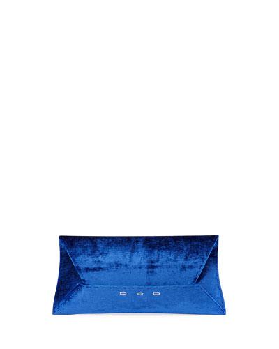 Manila Stretch T Velvet Clutch Bag  Blue