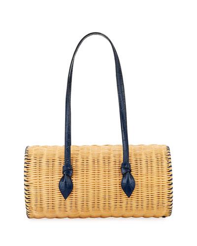 Rattan Agatha Woven Barrel Bag