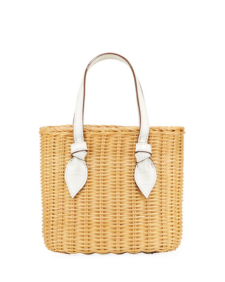PAMELA MUNSON Rattan Mini Bea Bucket Bag in White