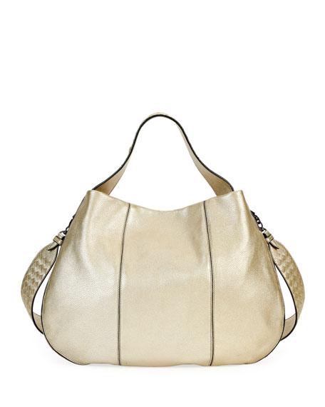 07a023d9eb02 Bottega Veneta City Veneta Large Metallic Leather Hobo Bag