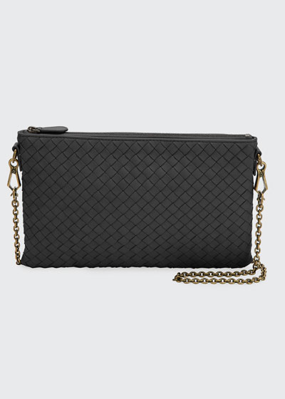 Biletto Woven Leather Zip-Top Pouch Crossbody Bag