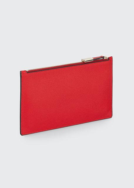 Saffiano Zip Pouch Bag