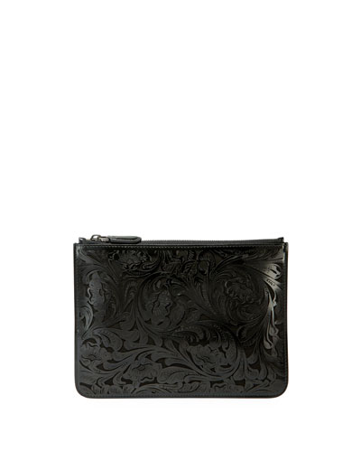 Laser Tooled Zip Pouch Clutch Bag