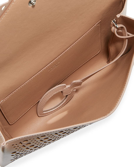 Vienne Laser-Cut Leather Envelope Clutch