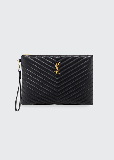 Monogram YSL Quilted Wristlet Pouch Bag