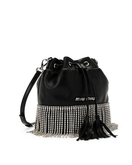 Small Crystal Fringe Napa Drawstring Bucket Bag