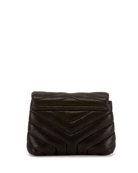 Loulou Monogram YSL Mini V-Flap Suede-Effect Wallet on Chain