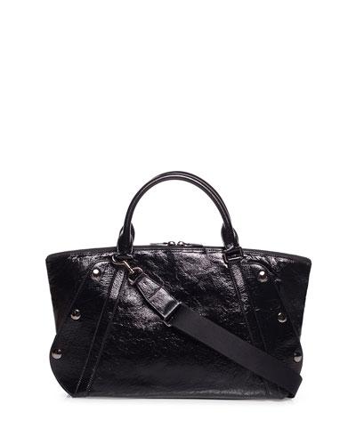 Aimee Crinkled Patent Satchel Bag