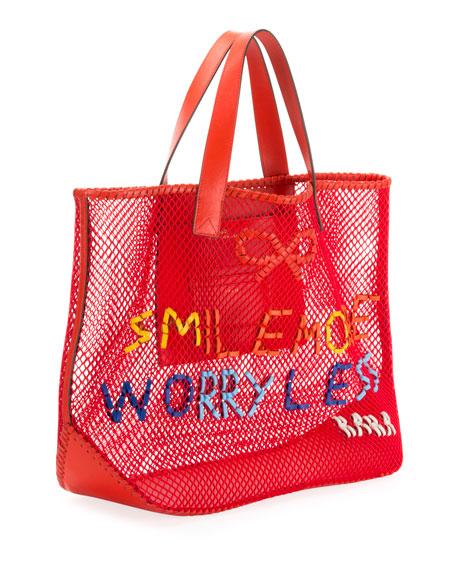 Smile More Weave Mesh Tote Bag