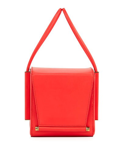 Smooth Leather Box Bag, Red