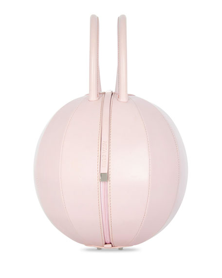 PILO Leather Circle Top Handle Bag, Pink