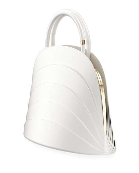 Millefoglie J Layered Top Handle Bag, White
