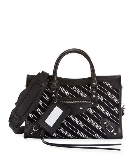 Classic City Small AJ Logo-Print Leather Tote Bag