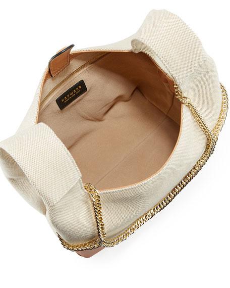 Chain Linen Top-Handle Bag