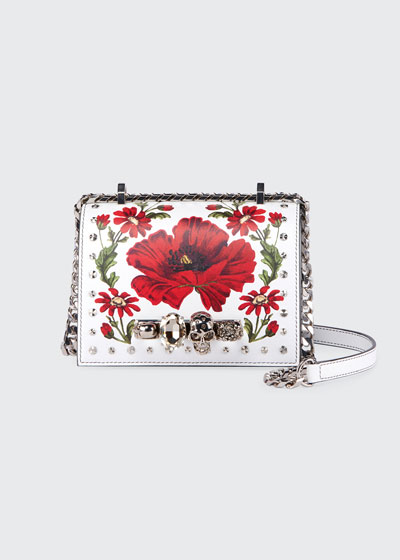Small Jeweled Satchel Bag with Poppy Art