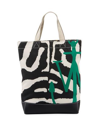 Animal-Print Twill Logo Tote Bag