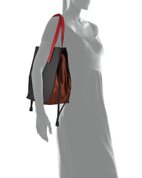 Leather & Nylon Drawstring Tote Bag