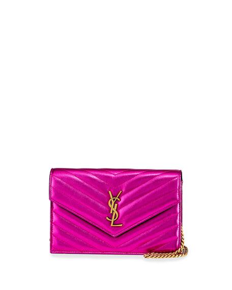 YSL Monogram Metallic V-Flap Wallet On Chain