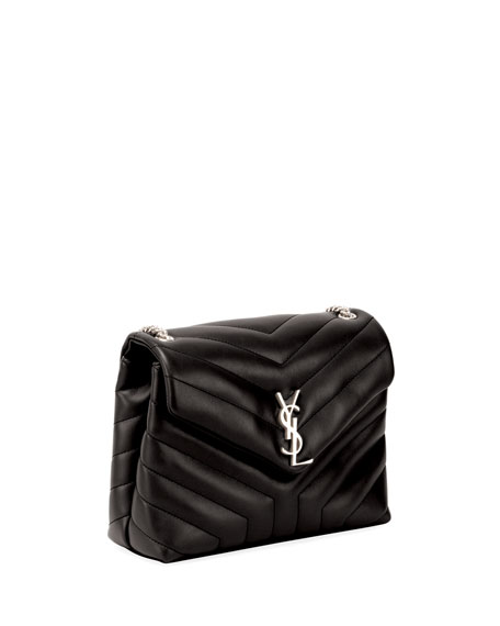 Loulou Monogram YSL Small Y-Quilted Leather Chain Bag, Black