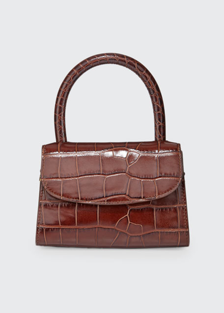 Mini Crocodile-Embossed Top-Handle Bag, Brown