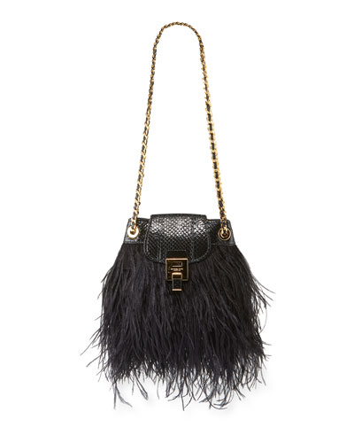 Ostrich Feather Disco Pouch Bag