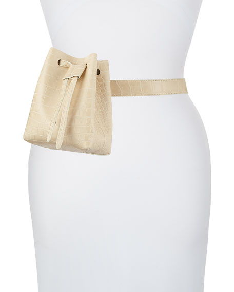 Minee Crocodile-Embossed Belt Bag, Cream